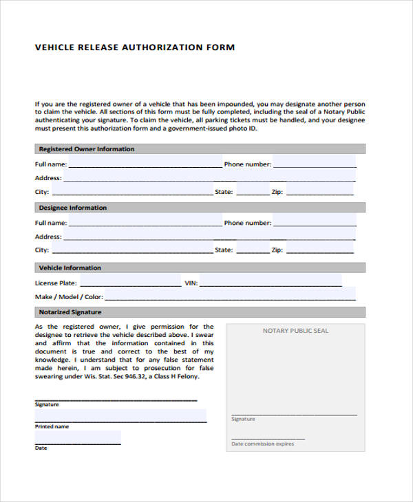 free vehicle release authorization form