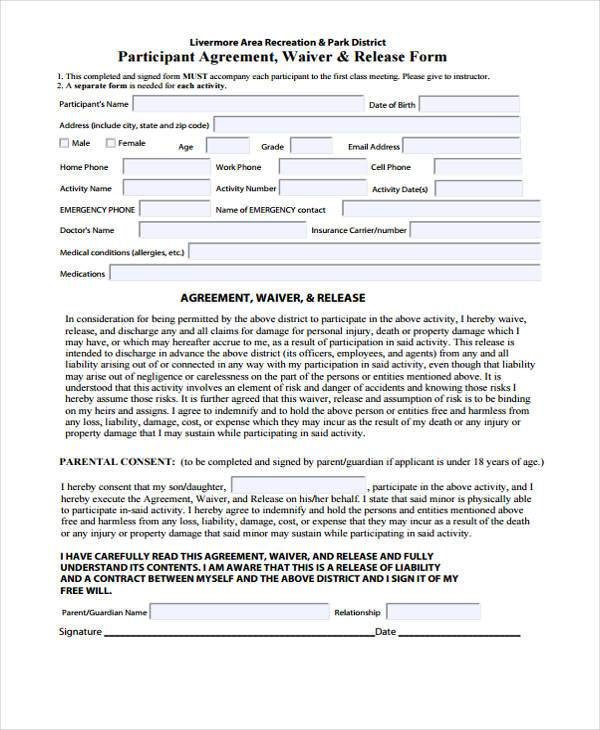 free waiver release form template