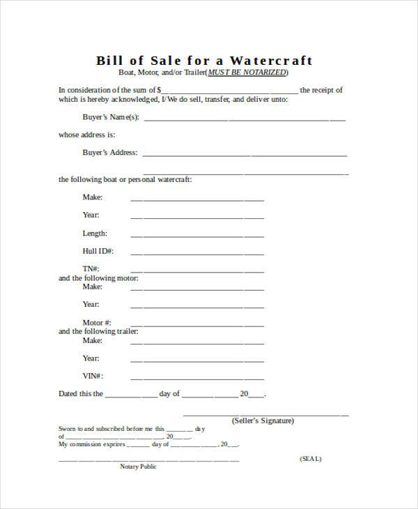 free watercraft bill of sale form