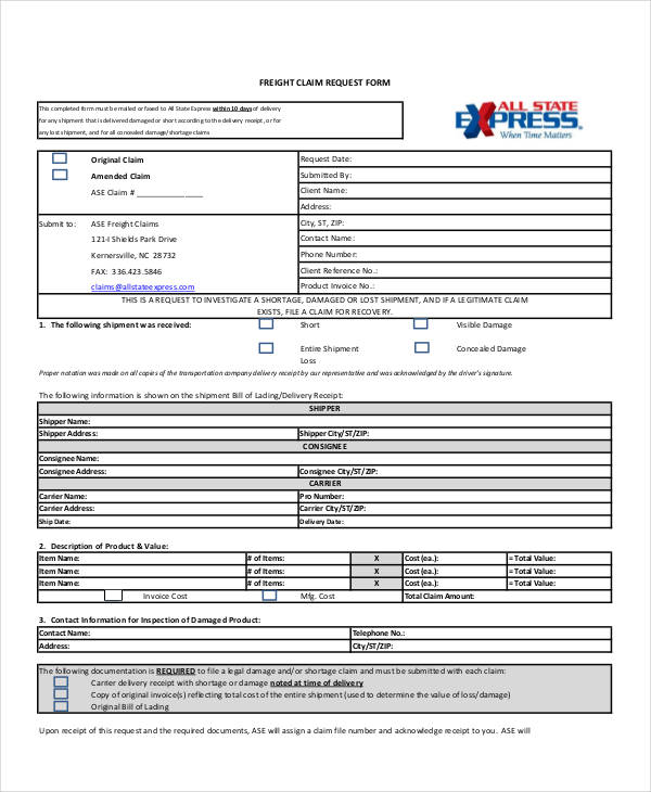 freight claim request form
