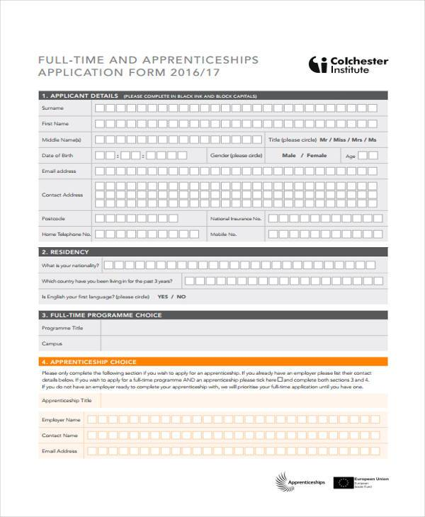 full time apprenticeship application form