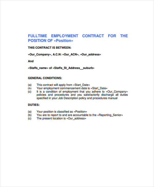 29 free contract agreement forms for Full time employment contract template