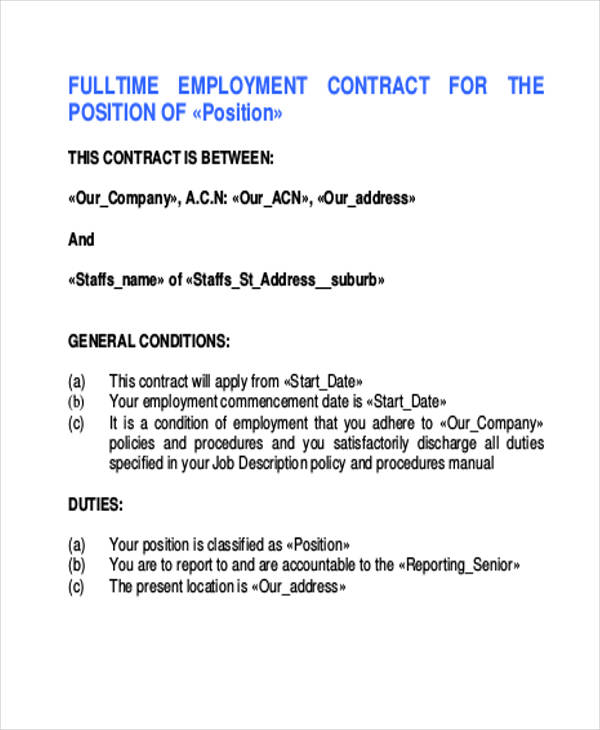 fulltime employment contract agreement form
