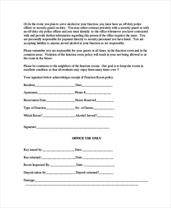 function room reservation form