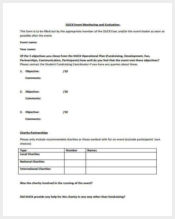 fundraising event evaluation form sample