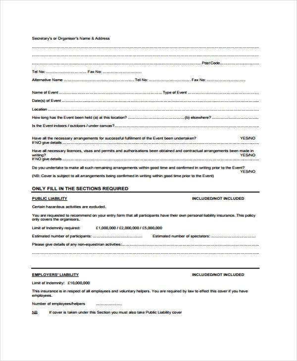 future event insurance proposal form