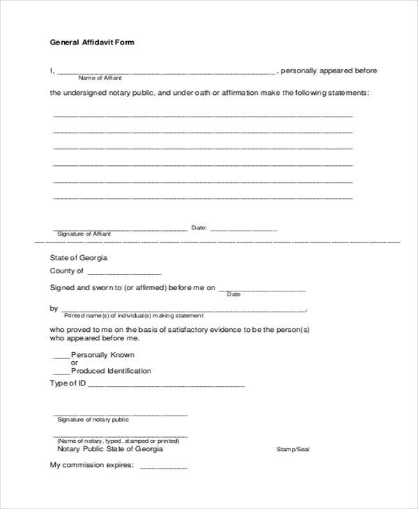 General Affidavit Form Free  General Affidavit Example
