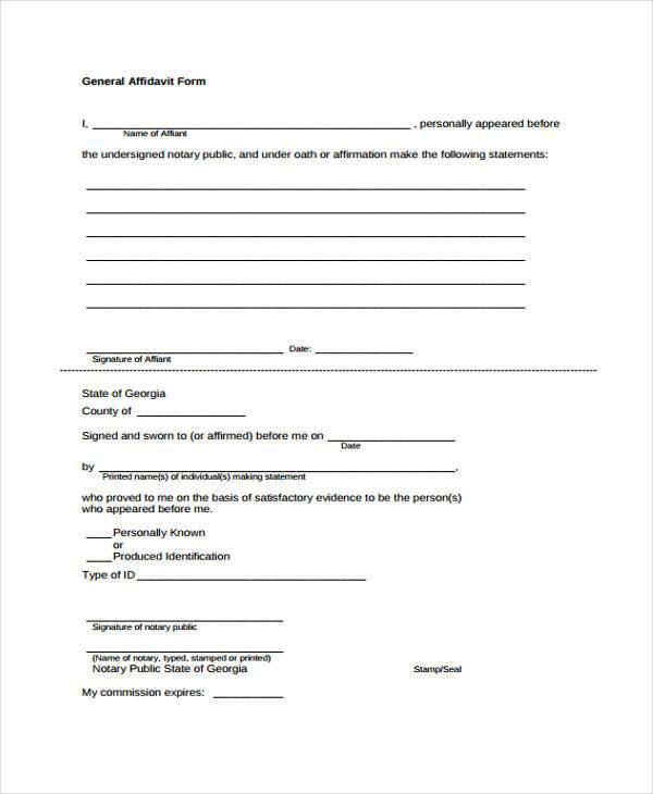 general affidavit form in pdf
