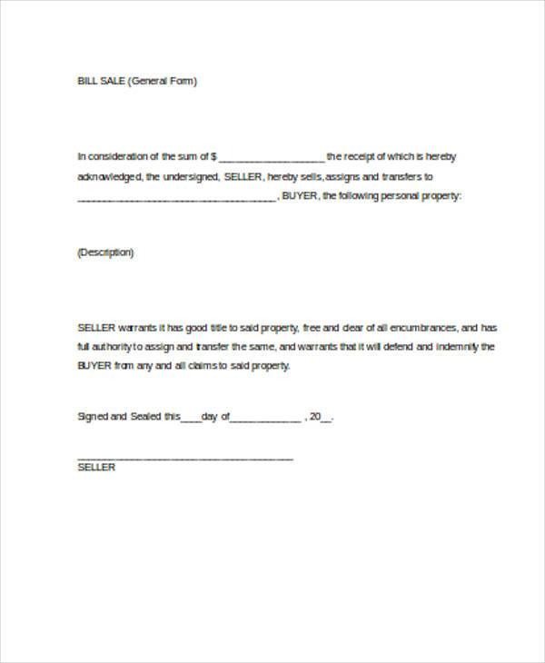 General Blank Bill Of Sale Form  General Bill Of Sale Form