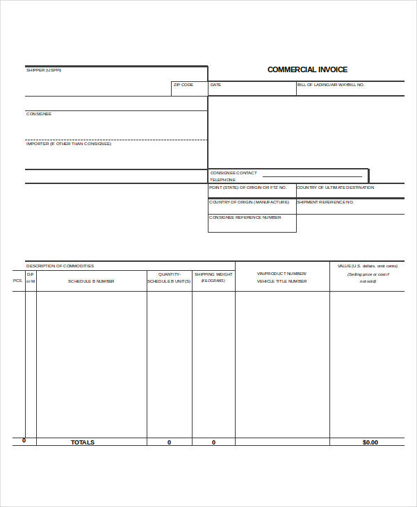 general commercial invoice form