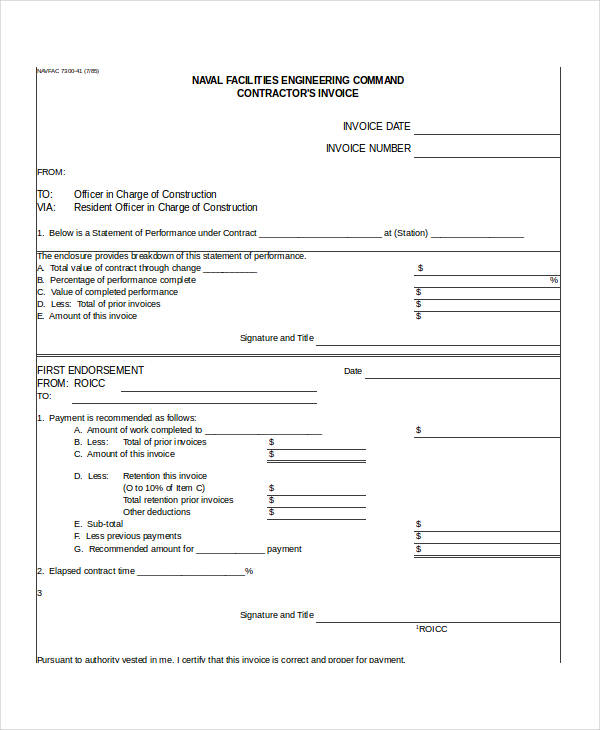 Contractor Invoices General Contractor Invoice Form Invoice Forms - General contractor invoice template