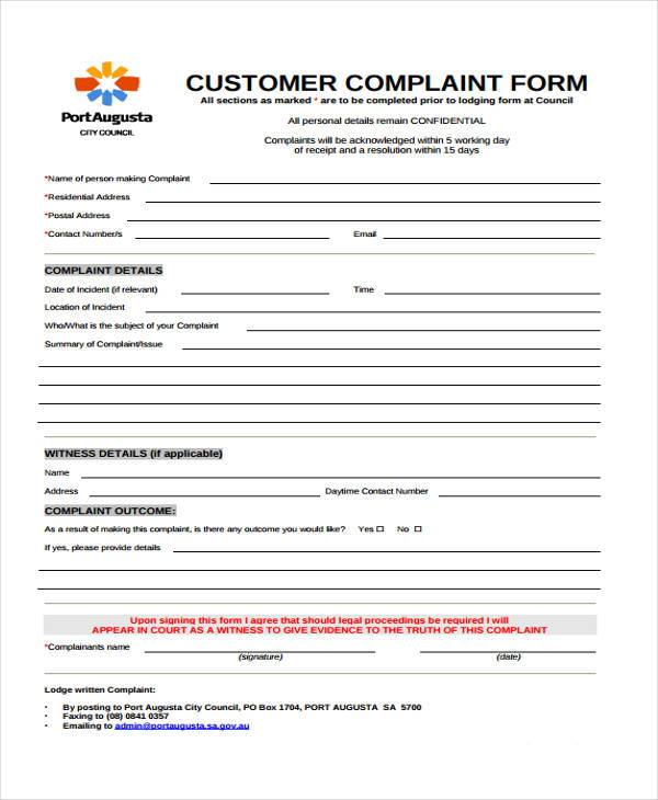 General Customer Complaint Form  Customer Form Template