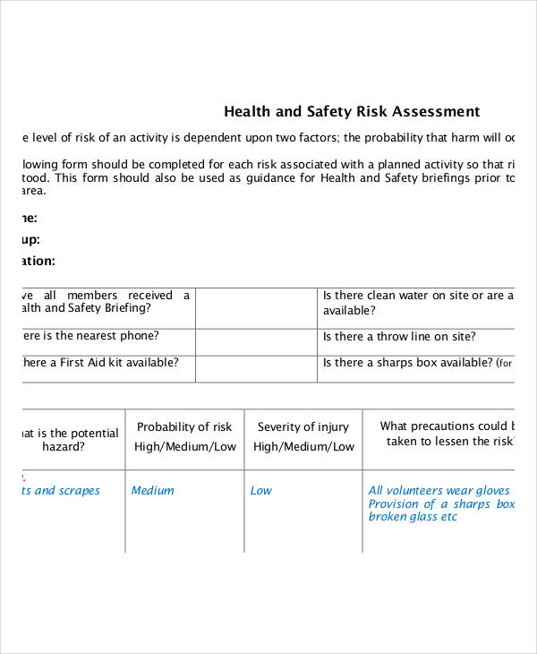 general health and safety risk assessment form