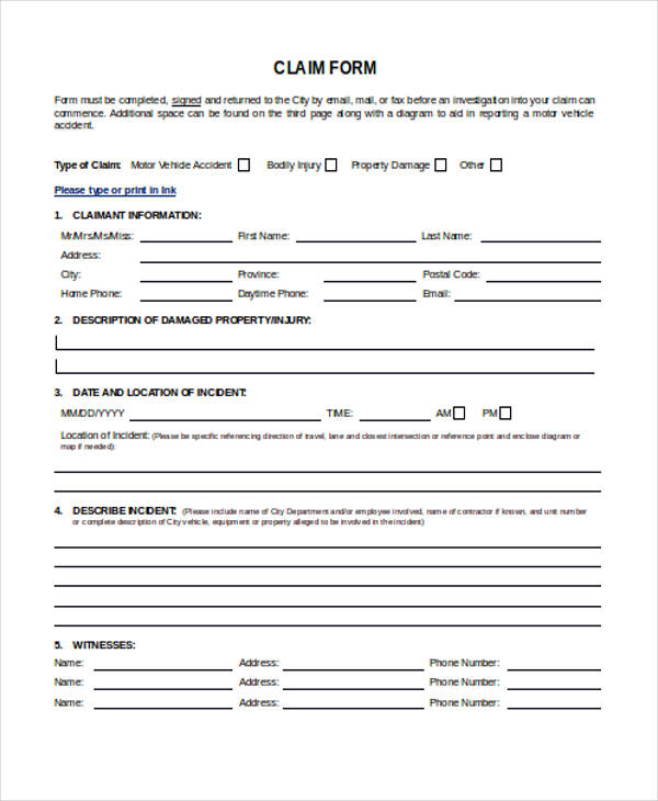 general insurance claim form