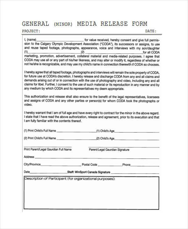 Release form templates for Generic consent form template