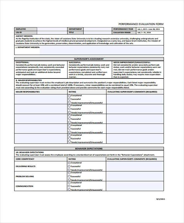 general performance evalution form