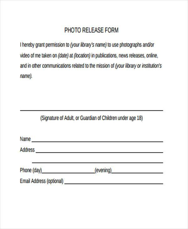 Release form templates for Photography waiver and release form template