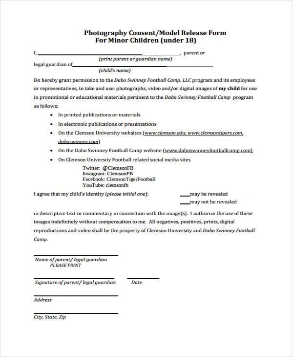 Release form templates for Photography permission form template