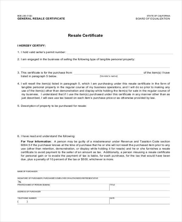 Certificate form templates general resale certificate form yadclub Gallery