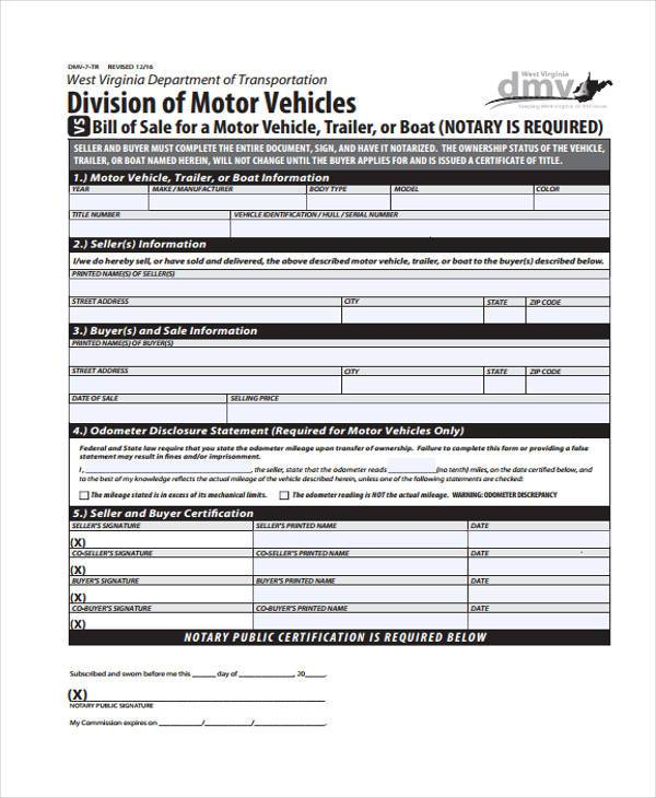 generic bill of sale form for automobile