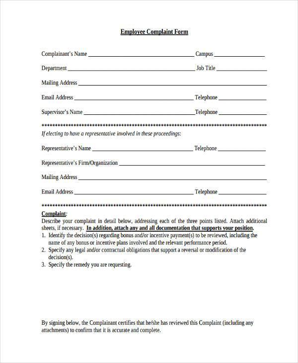 generic employee complaint form