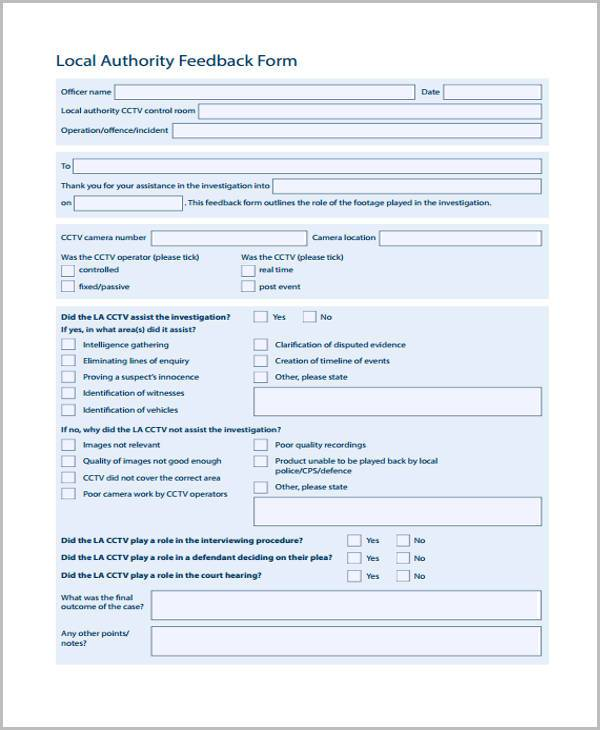 local authority event feedback form