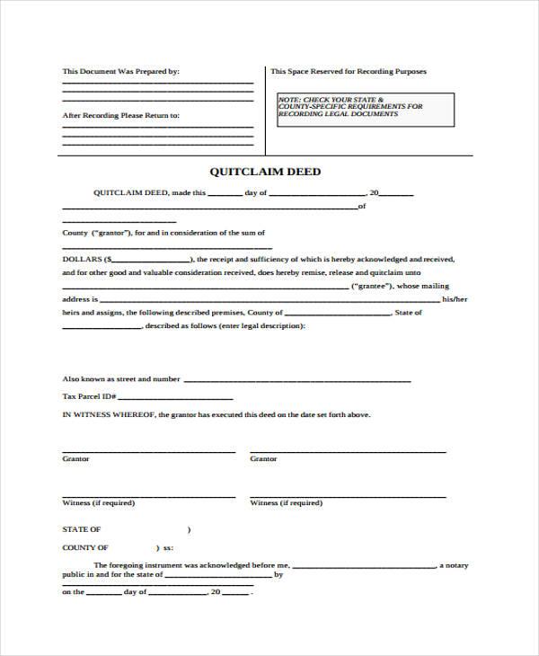 generic quit claim deed form1