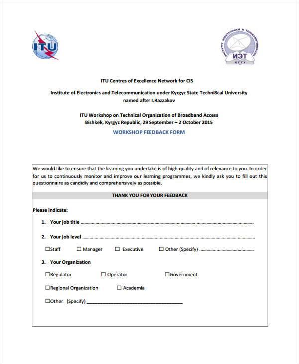 generic workshop feedback form