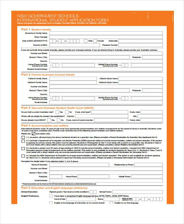 government international school application form
