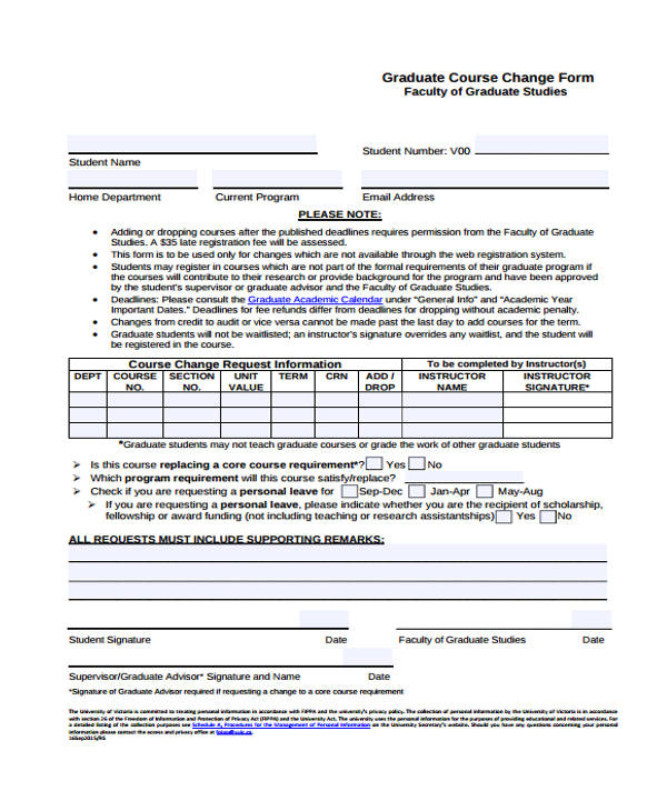 graduate course change form