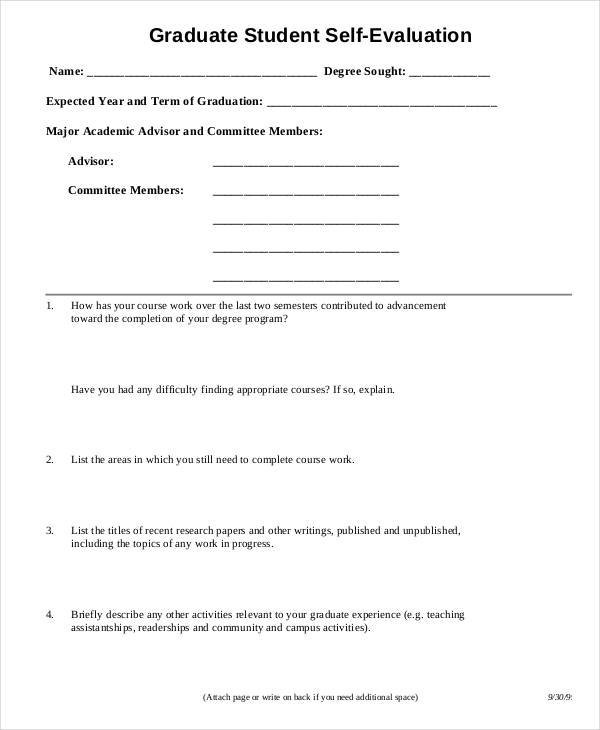 Sample Student Evaluation Form – Student Self Evaluation Form
