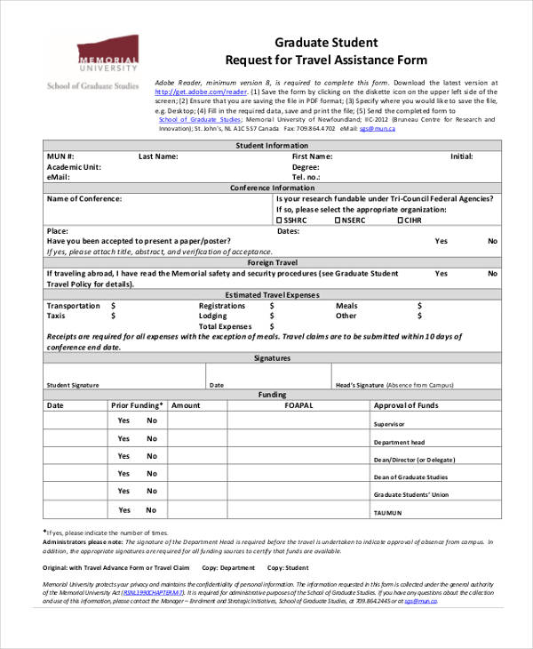 Sample Travel Request Form – Student Request Form
