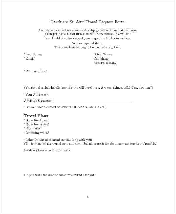 graduate student travel request form