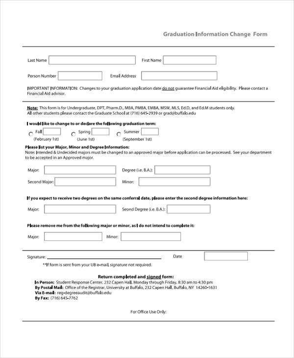 graduation information change form