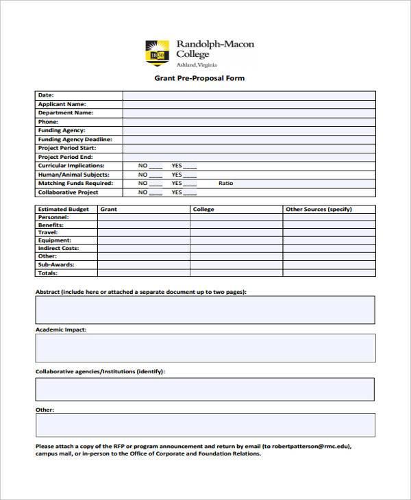 grant pre proposal form