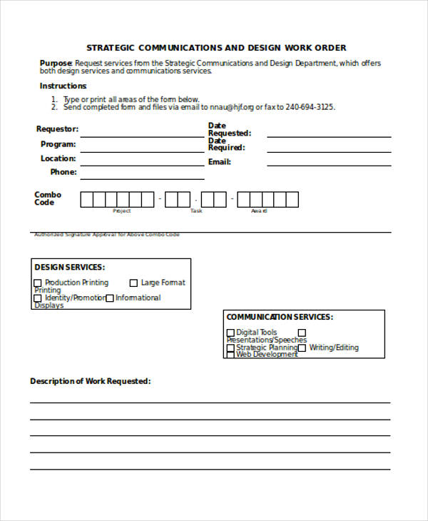 Work Request Form. Item #245 Work Order Forms: General Work Order