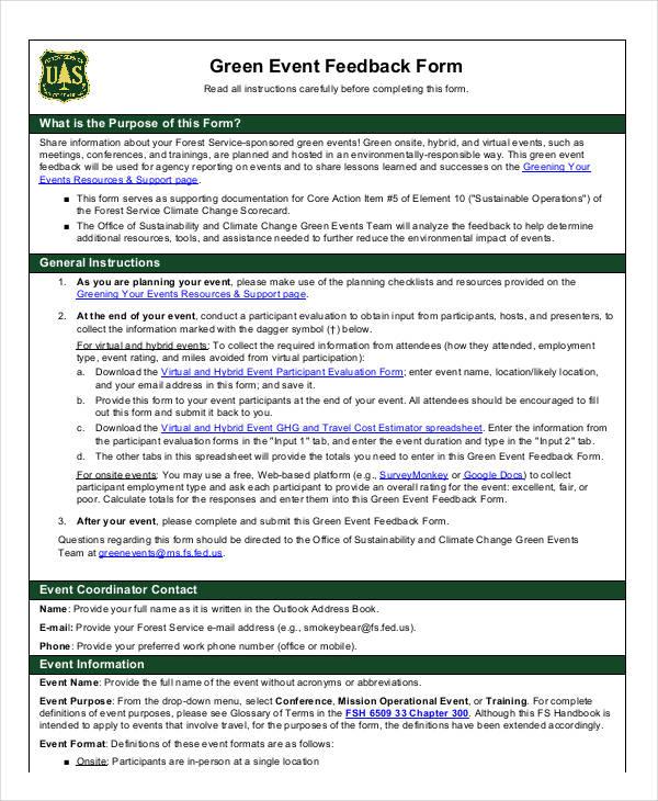 green event feedback form