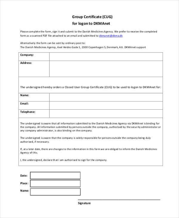 group certificate blank form