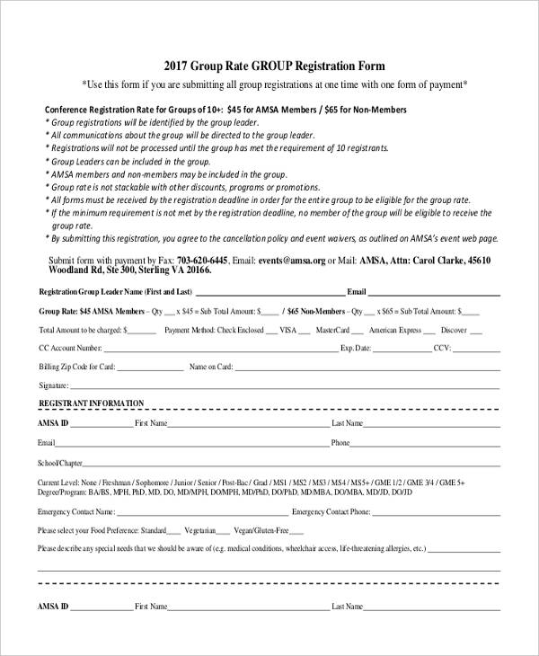 group emergency contact registration form