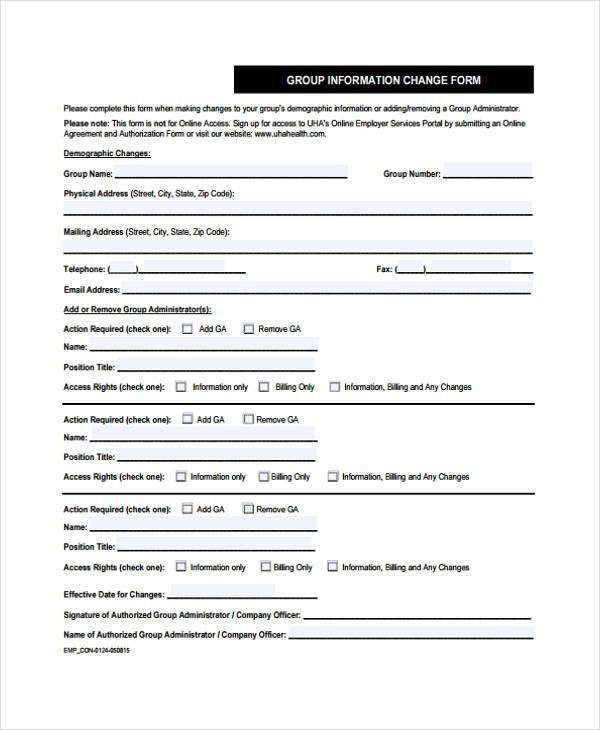 group information change form