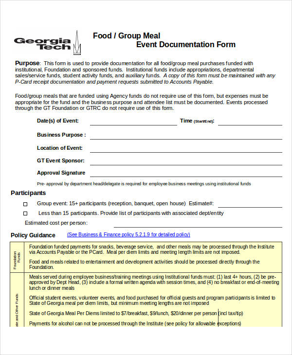 group meal event service form