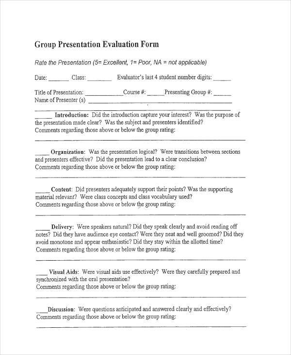Blank Presentation Evaluation Forms Printable,Presentation