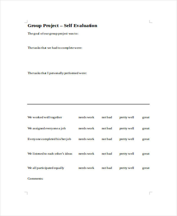 group project self evaluation form