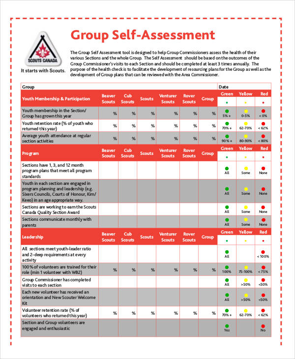 group self assessment form