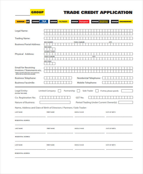 group trade credit application form