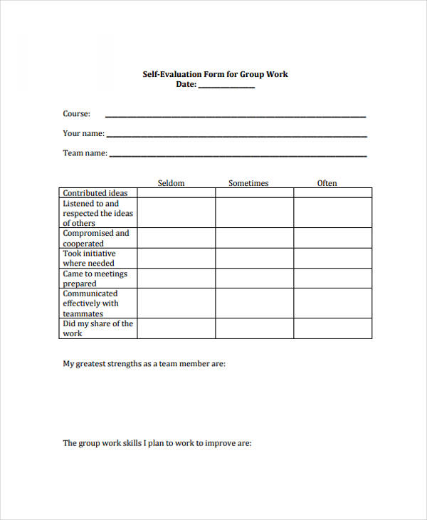 group work self evaluation form