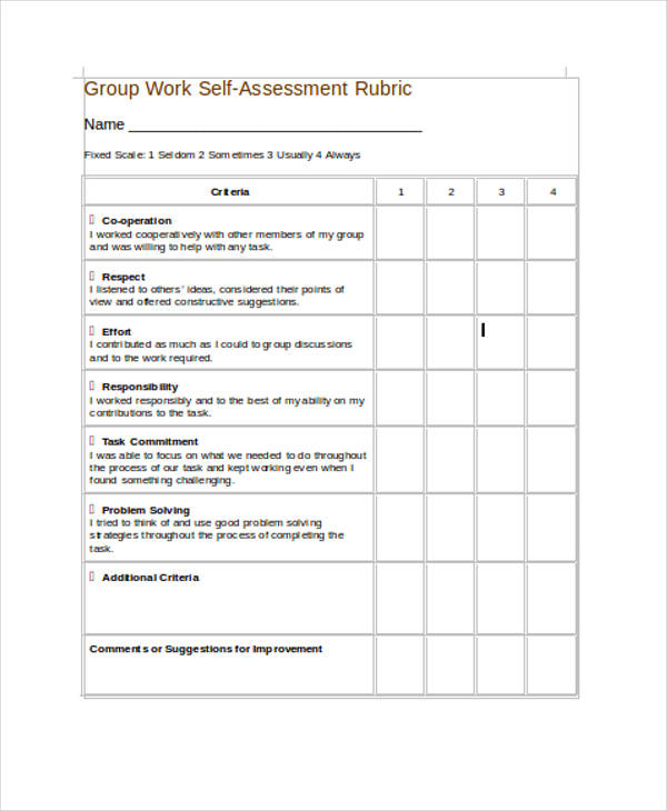 SelfAssessment Form Templates  Pdf Doc
