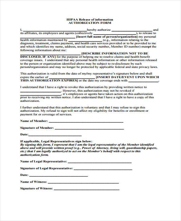 Hipaa Authorization Information Release Form Template