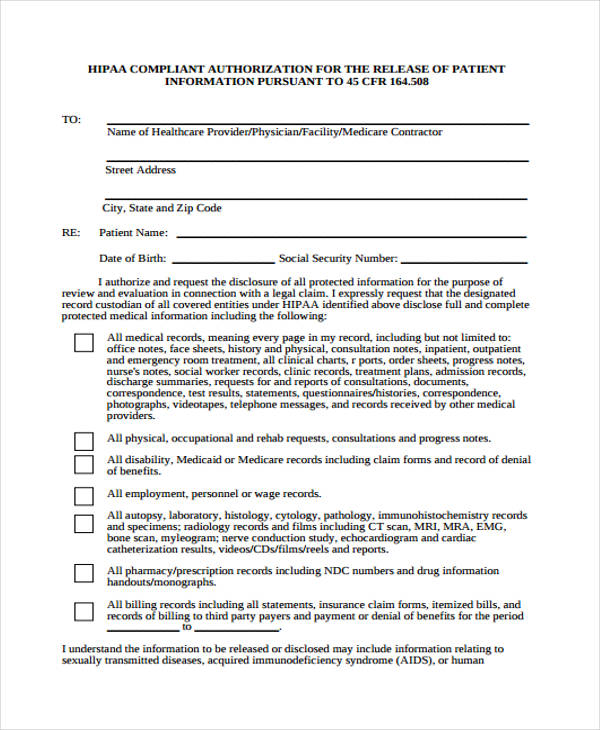 Hippa Release Forms Medical Release Forms Templates In Word And Pdf