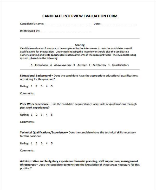 hr candidate interview form